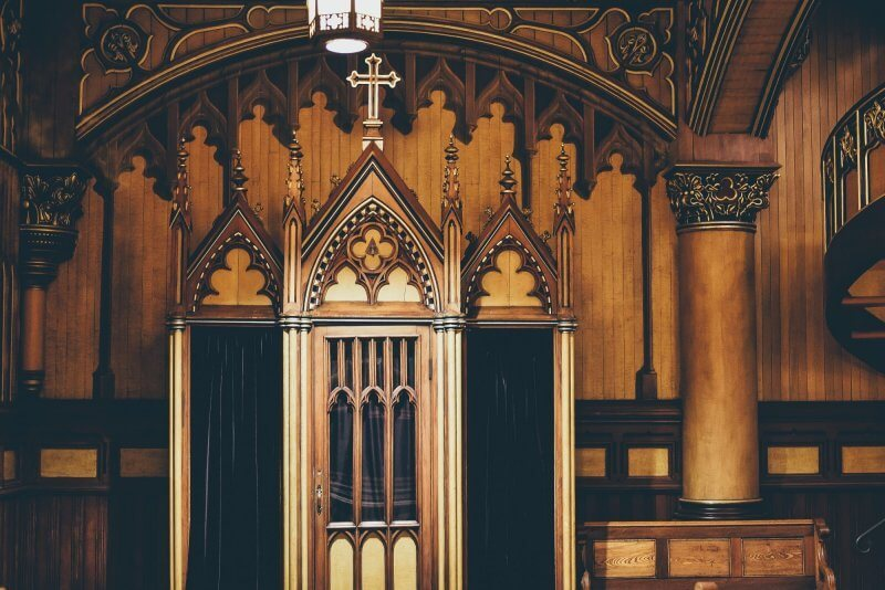 A confessional booth in Notre-Dame Basilica in Montréal, Canada