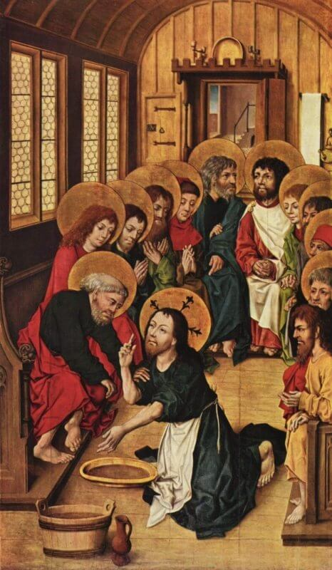 """Christ Washing the Feet of the Apostles"" by Master of the Amsterdam Cabinet"