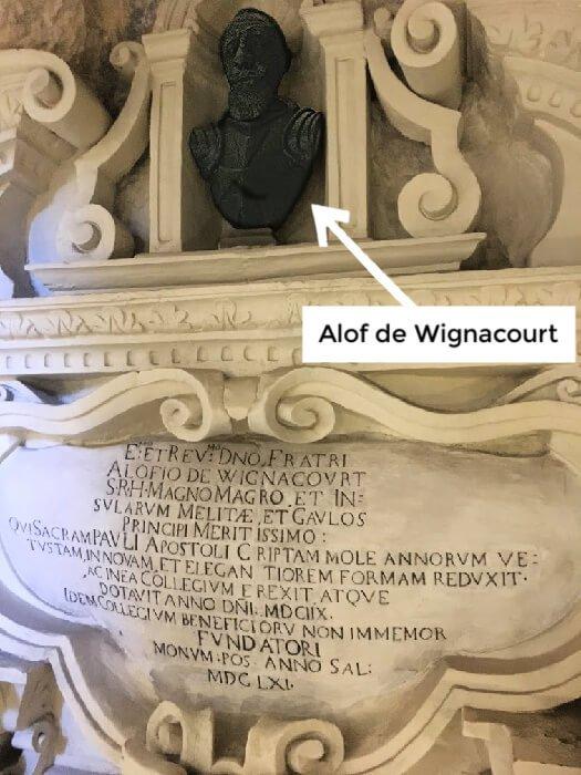 A bust thanking Alof de Wignacourt in St. Paul's grotto.