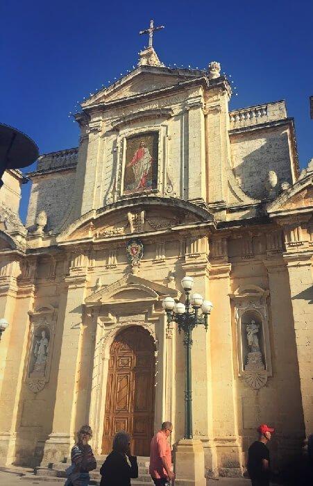 The towering Collegiate Church of St. Paul in Rabat.