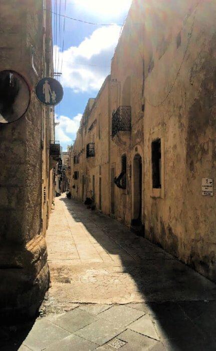 A curving street in Rabat, Malta.