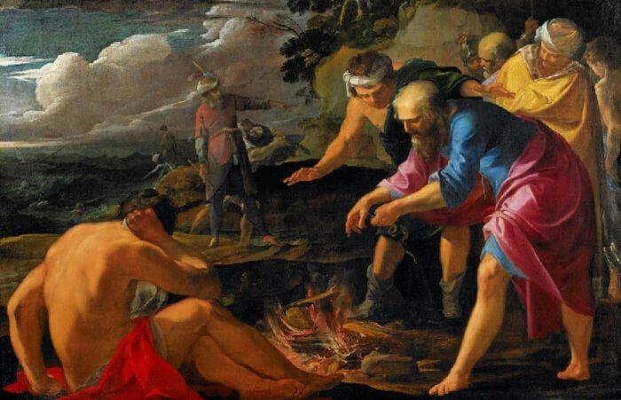 """Saint Paul Shipwrecked on Malta"" painted by Laurent de La Hyre in 1630AD."