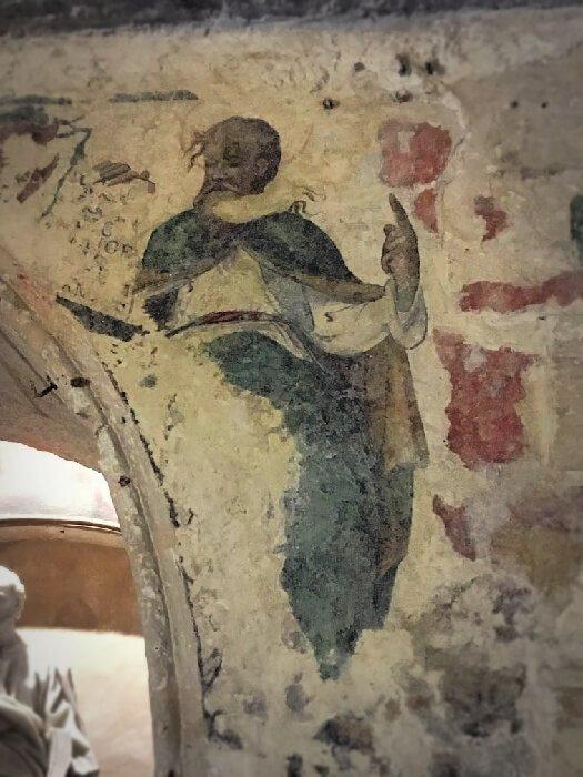 A fresco of St. Paul inside St. Paul's grotto in Malta.