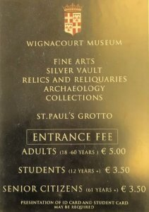 Wignacourt Museum entrance fees