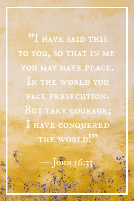 """I have said this to you, so that in me you may have peace. In the world you face persecution. But take courage; I have conquered the world!"" — John 16:33"