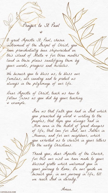 A prayer to St. Paul from St. Paul's Grotto in Rabat, Malta