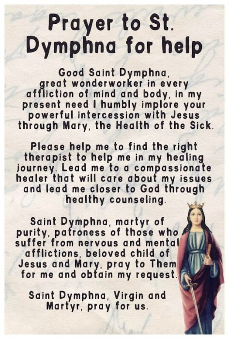 A prayer to Saint Dymphna for help in finding a therapist