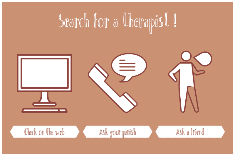 Infographic on where to search when looking for a therapist
